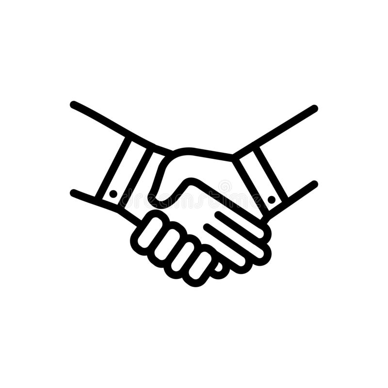 Black line icon for Handshake, deal and pledge. Black line icon for Handshake, promise, bargain, cooperation, unity,  deal and pledge vector illustration