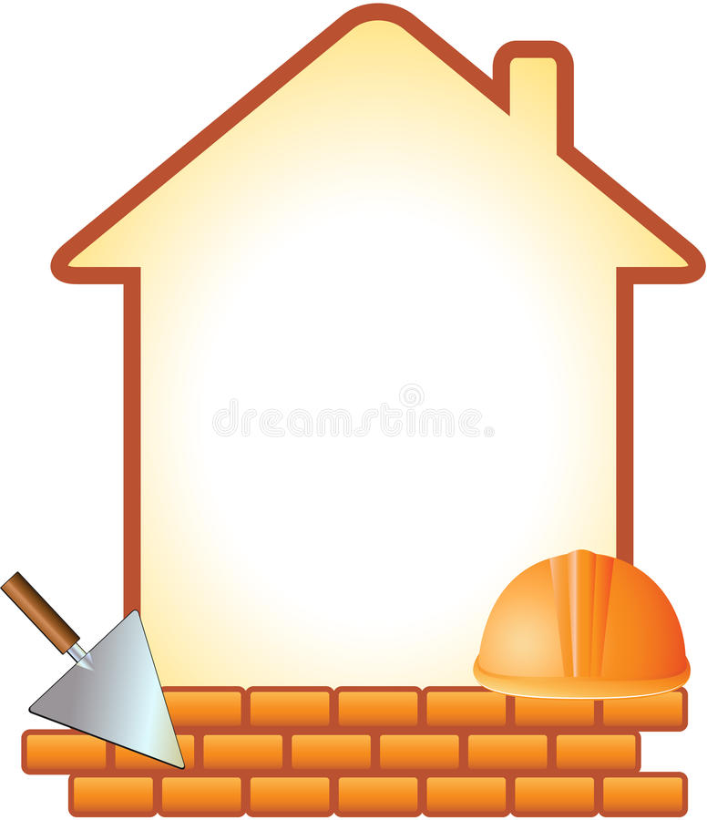Icon with helmet, trowel, bricks and house stock illustration