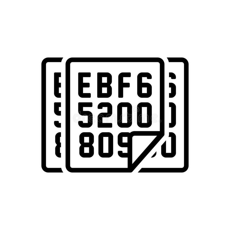 Black line icon for Hexadecimal, data and security. Black line icon for  hexadecimal, code, programming, software,  data and security stock illustration