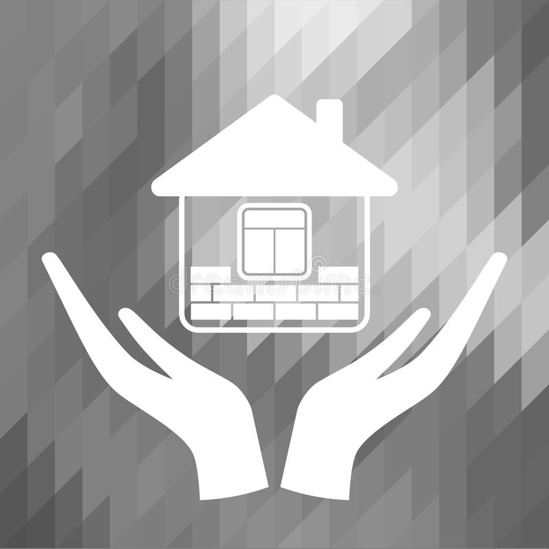 Icon home. The symbol of the company for the construction repair and maintenance of the house. Icon home on the grey polygon background. Vector illustration stock illustration