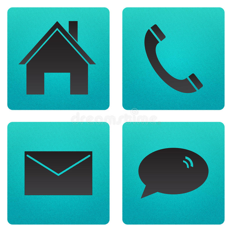 Icon home telephone email and chat stock photo