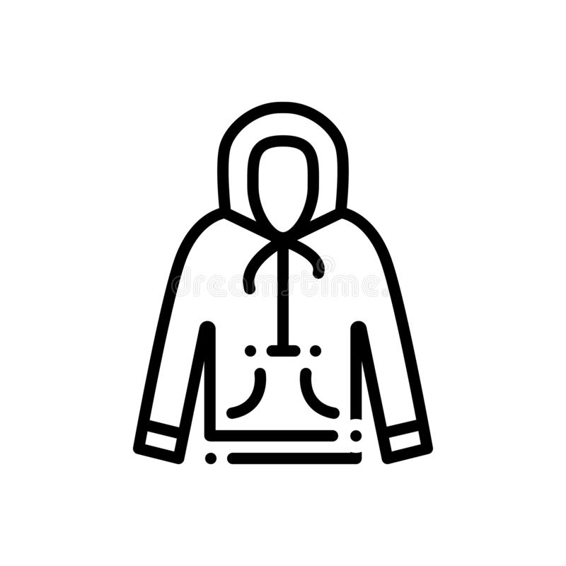 Black line icon for Hoodie, sweatshirt and jumper stock illustration