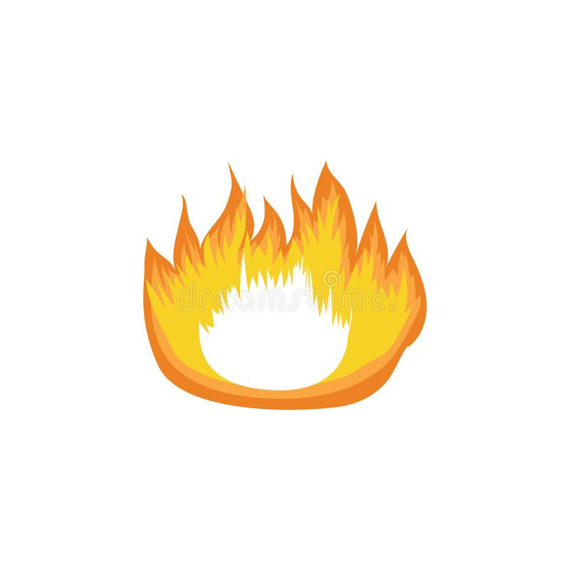 Icon hot fire flame, campfire and bonfire element. vector illustration