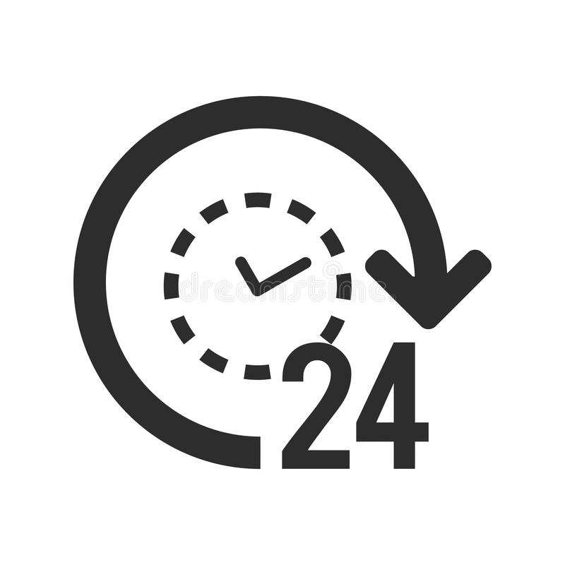 24/7 icon. 24 hours open symbol. Clock with arrow sign. Eps10 Vector stock illustration