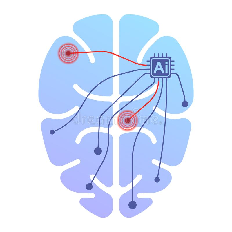 Icon of a human brain running by artificial intelligence. Impact on certain points by impulse. Isolated vector vector illustration