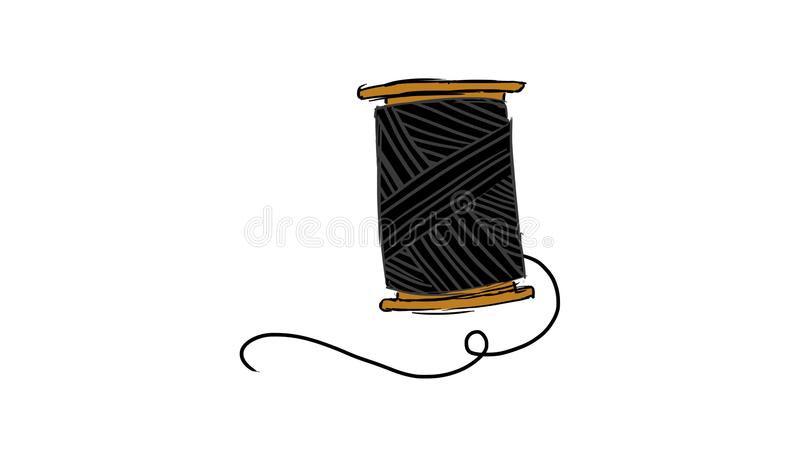 Icon Illustration Featuring a Needle and a Spool of Thread Done in Black and White. On white background royalty free illustration