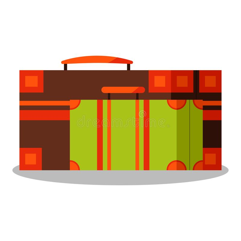 Icon image of vintage brown aand green suitcases isolated on white background vector illustration