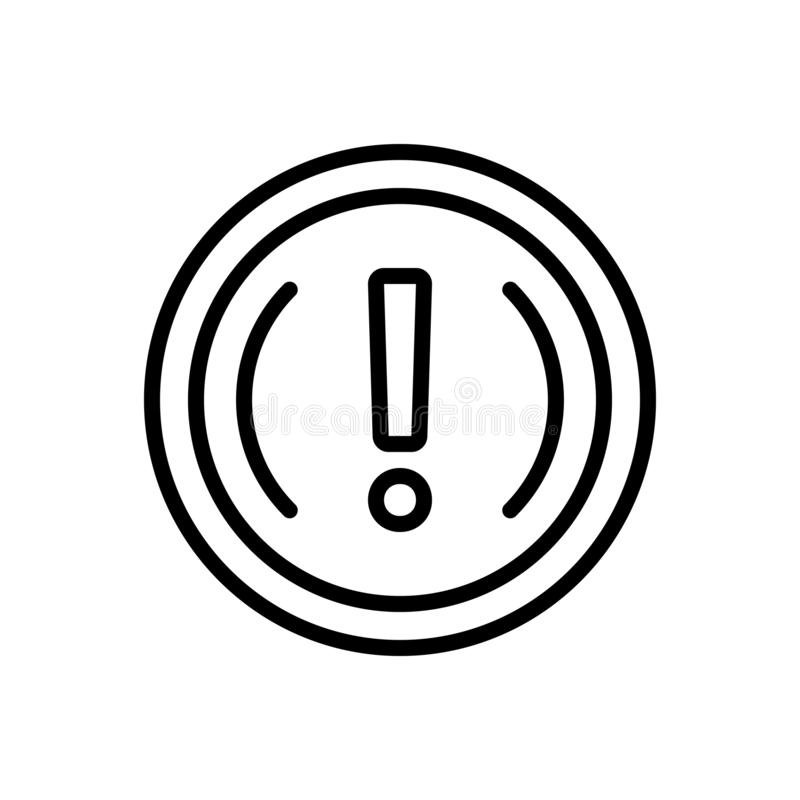 Black line icon for Important, exclamation and caution. Black line icon for  important, mark, message, info, logo,  exclamation and caution vector illustration