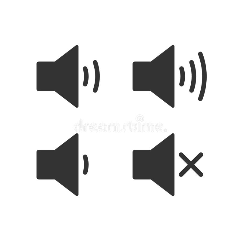 An icon that increases and reduces the sound. Icon showing the mute. A set of sound icons with different signal levels in a flat vector illustration