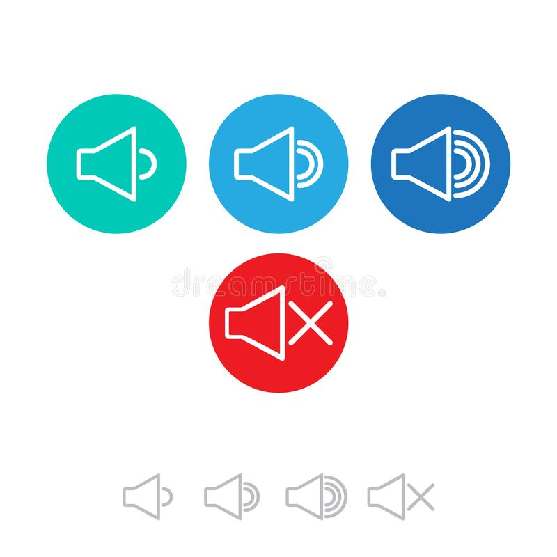 Icon that increases and reduces the sound. Icon showing the mute. A set of sound icons with different signal levels. royalty free illustration