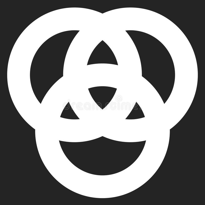 Icon with 3 interlocking circles. rings. Abstract symbol for con stock illustration