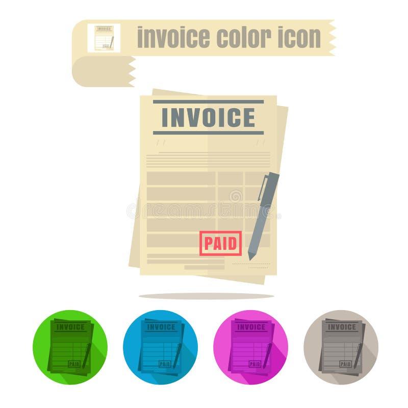 Icon invoice colorful design vector on white background. Icon set invoice colorful design vector on white background royalty free illustration
