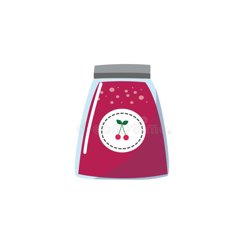 Icon jars of cherry jam from the shelf of a grocery store, market or supermarket. vector illustration