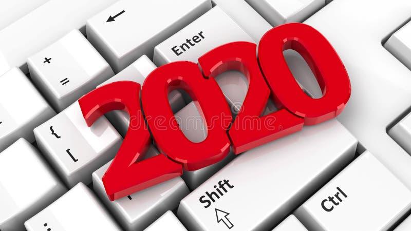 2020 icon on keyboard vector illustration