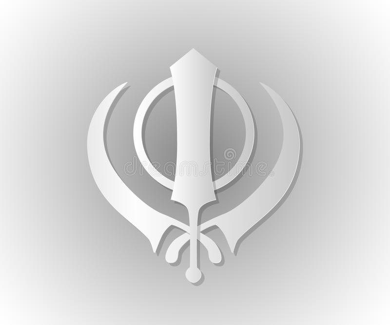 Symbol Of The Sikhs Khanda Stock Vector Illustration Of Drawn