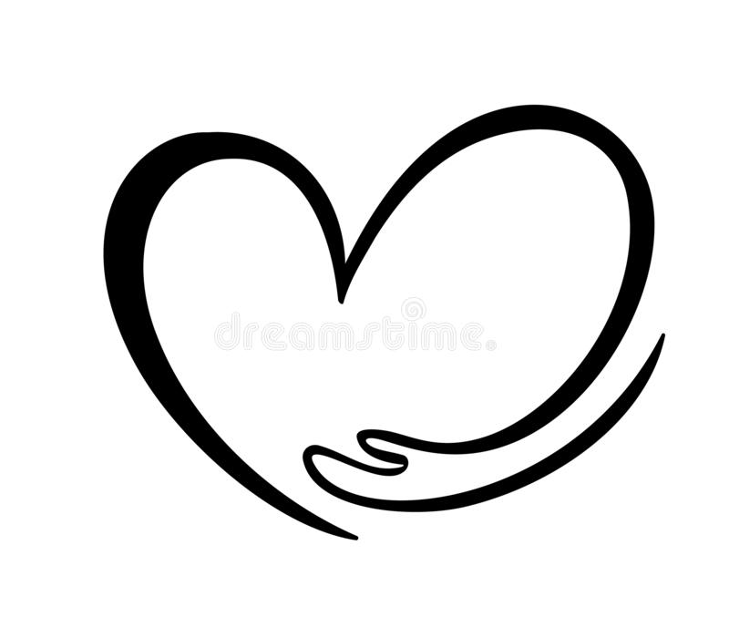 Icon of kindness and charity, Hand and heart. hand hug heart symbol Valentines day or love. Hand drawn graphic. Illustration boy and girl in love, love for royalty free illustration