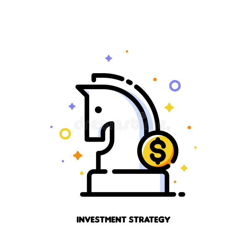 Icon of knight chess piece and dollar sign for investment strategy concept. Flat filled outline style. Pixel perfect 64x64 vector illustration