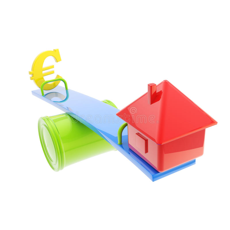 Icon-like House And Euro Sign On The Teeter Totter Royalty Free Stock Images