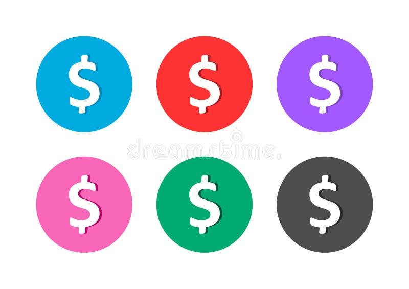 Dollar sign icon button royalty free illustration