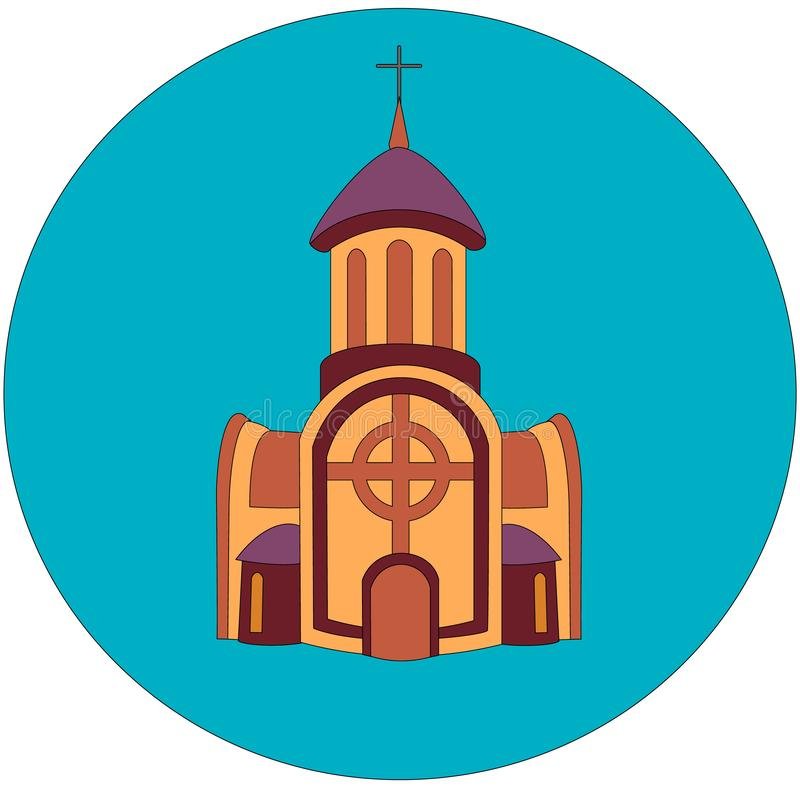 Icon or logo of brown church monastery building with belfry and cross at the top and two extensions with windows on the side and royalty free illustration