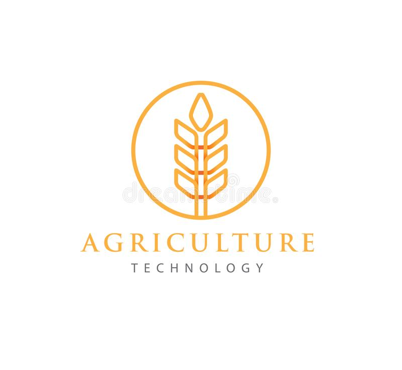 Simple agriculture technology with abstract wheat symbol logo design. Or icon logo concept design template for agriculture technology, agriculture business royalty free illustration
