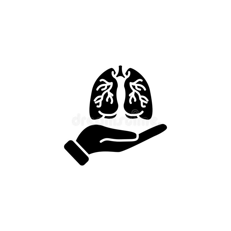 Icon. Lungs in hand vector illustration