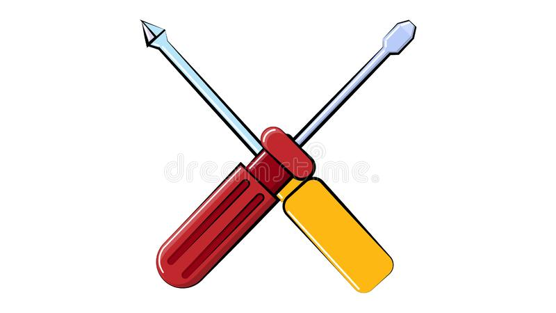 Icon construction red and yellow flat and cross screwdrivers for repair, a crossed tool on a white background. Vector illustration vector illustration