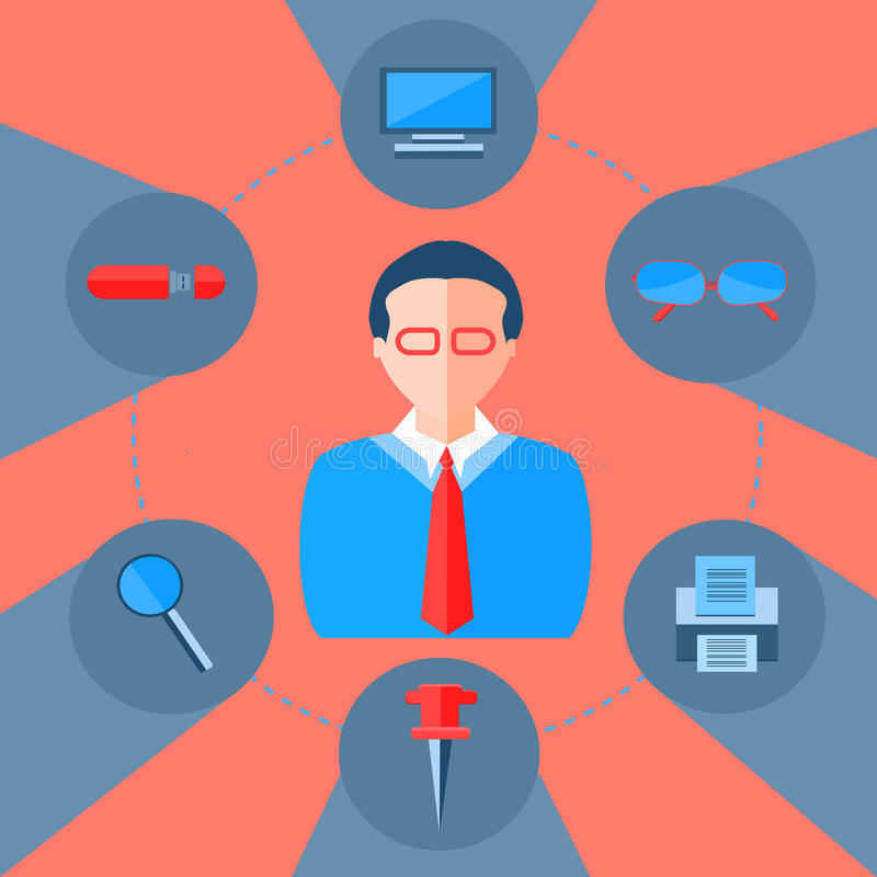 Icon magnifier, flash drive, glasses. Businessman and a collection of modern flat icons of office and business elements with long shadows for web design stock illustration