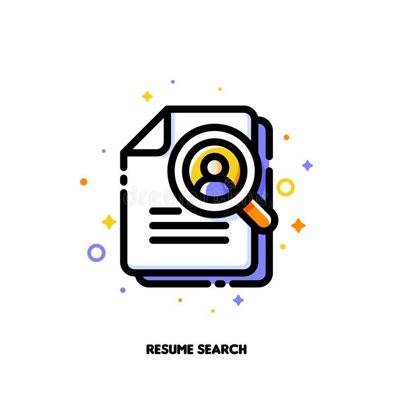 Icon of magnifying glass and resume for professional staff recruitment or searching efficient employees concept stock illustration