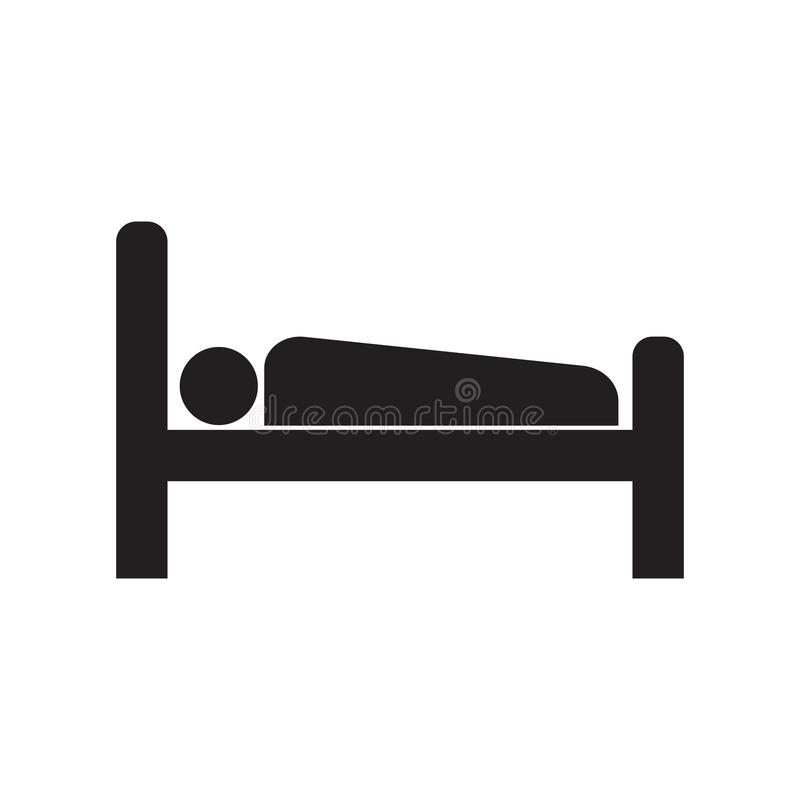 Icon man in bed. Line icon accommodation. Man lying in bed. Vector illustration stock illustration