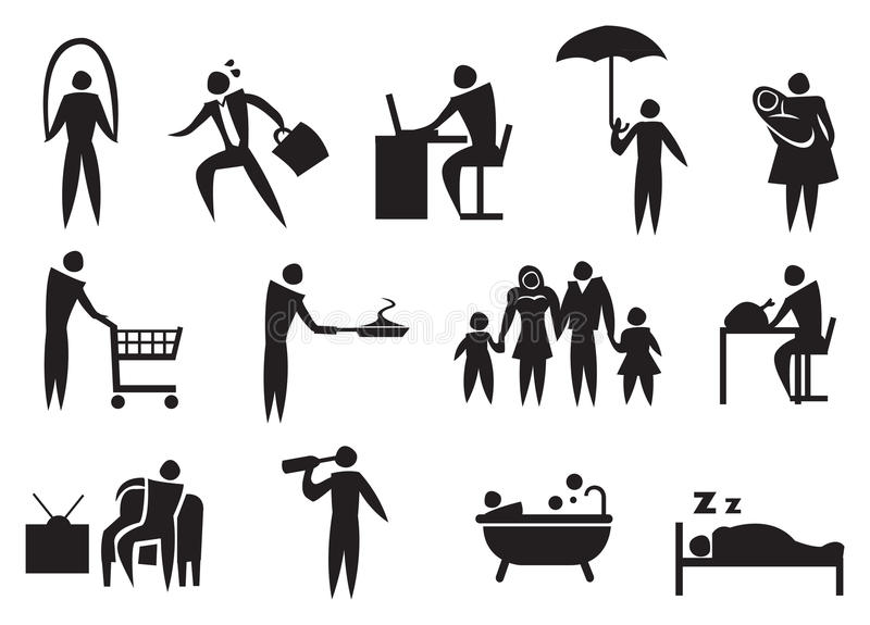 Icon of man doing his daily routine illustration stock