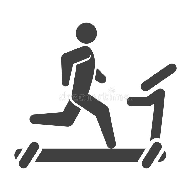Icon of a man on a treadmill. Vector on a white background. Icon of a man on a treadmill. Vector on a white background vector illustration