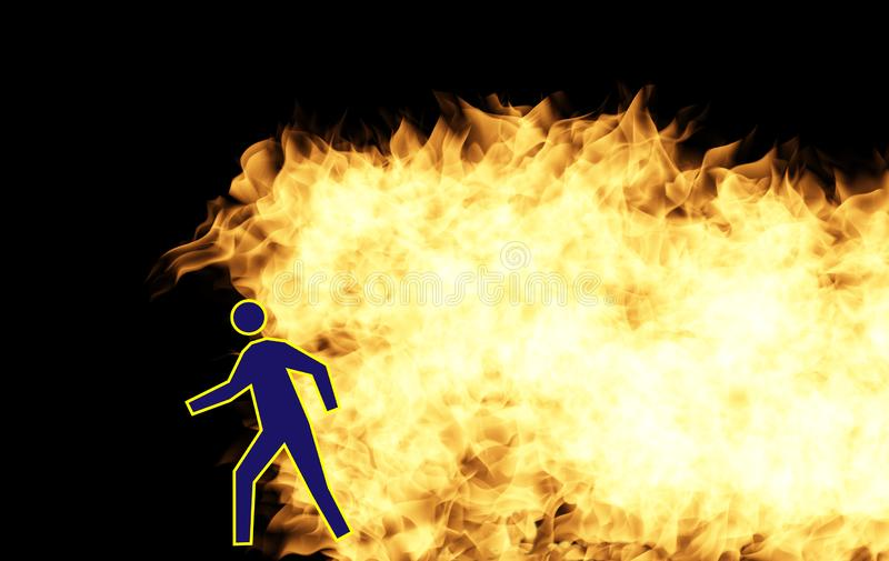 Icon man walking away from the flames royalty free stock photos