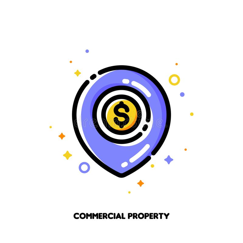 Icon of map pin with golden dollar coin for commercial real estate or income property concept. Flat filled outline style vector illustration