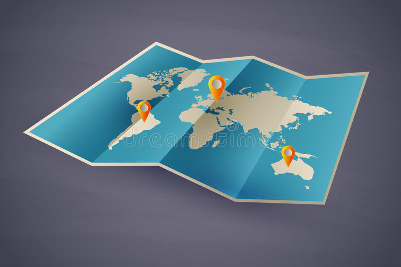 Icon map of the world. eps10 stock illustration