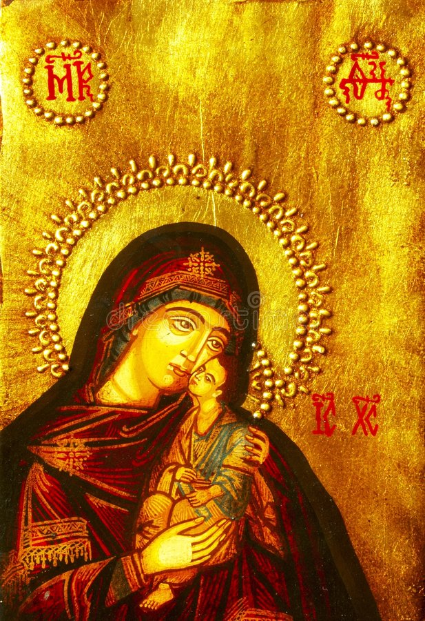 Icon of Mary and baby Jesus stock photos