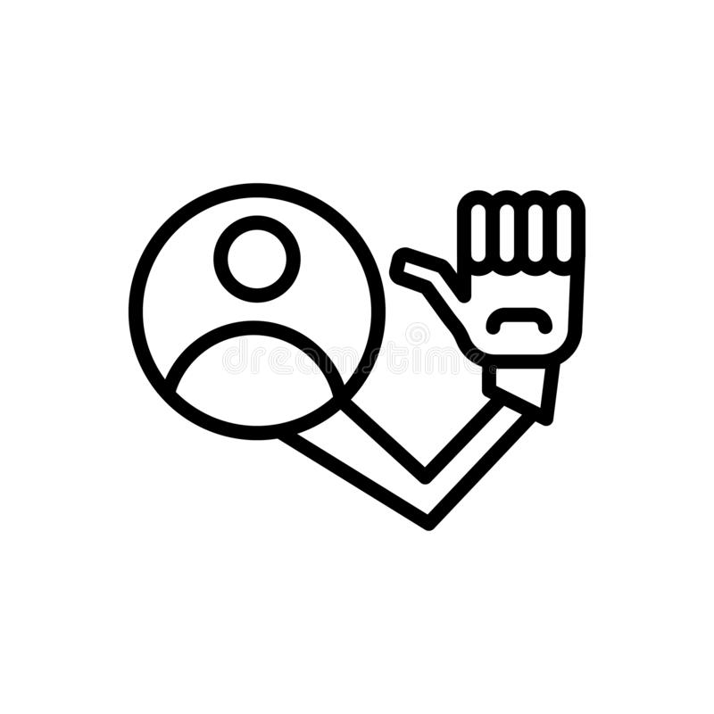 Black line icon for me, myself and self vector illustration