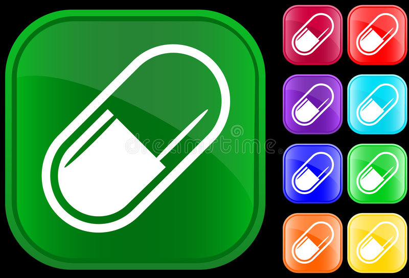 Icon of medical capsule vector illustration