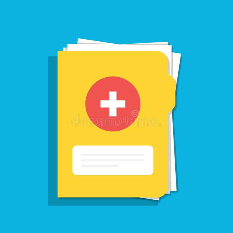 Icon of the medical folder for documents. For web, mobile and computer applications. Flat illustration isolated on color. Background stock illustration