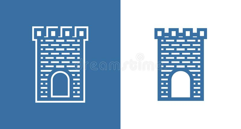 Icon of Medieval Scotland Castle. European Historical Building Fortless in black and white color. Icon of Medieval Scotland Castle. European Historical Building royalty free illustration