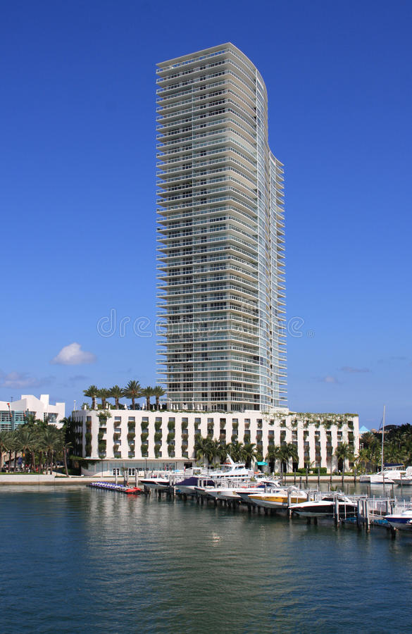 Icon Miami Beach Marina. Icon building and Miami Beach Marina on South Beach stock photography