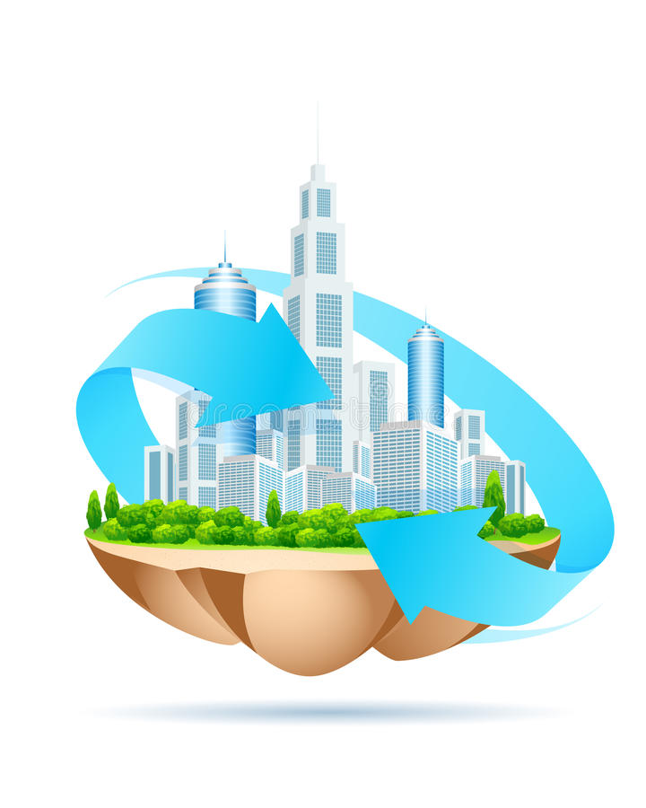 Icon of modern city on island. On white background vector illustration