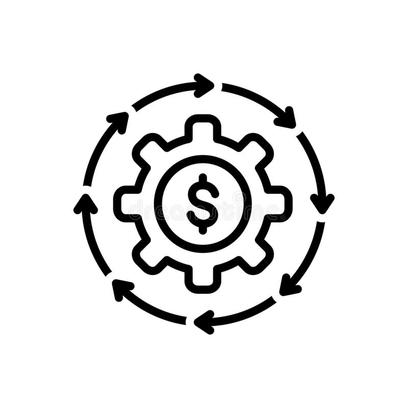 Black line icon for Money Flow, cash and recycle. Black line icon for Money Flow, abundance, currency, finance, cycle,   cash and recycle royalty free illustration