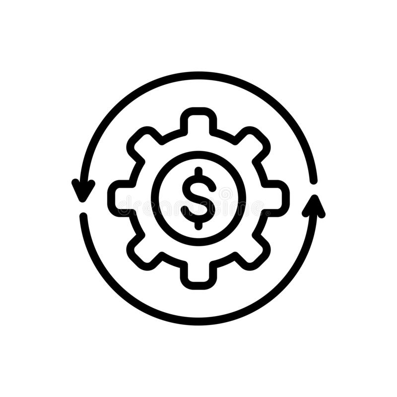 Black line icon for Money Flow, cash and recycle. Black line icon for Money Flow, abundance, currency, finance, cycle,  cash and recycle stock illustration