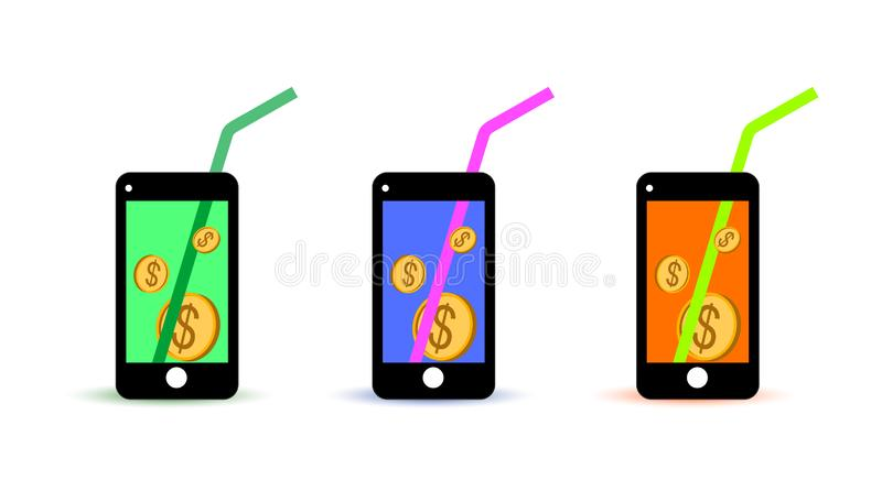 Icon money on the phone bill vector illustration