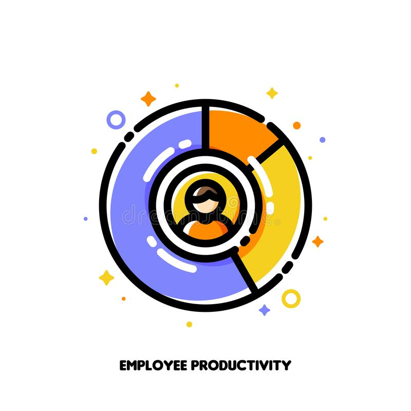 Icon of multicolor diagram and staff member for employee productivity concept. Flat filled outline style. Pixel perfect 64x64 royalty free illustration