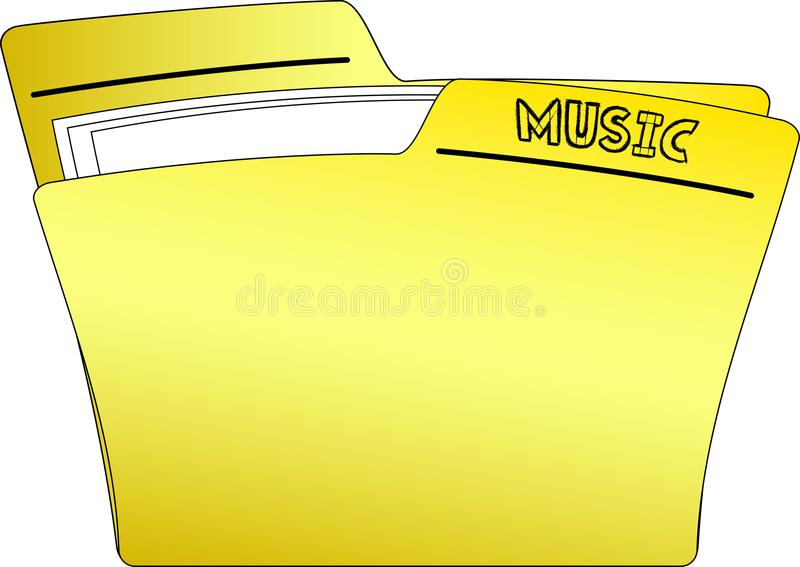 Yellow Folder Containing Papers - 3D Rendering Stock Illustration