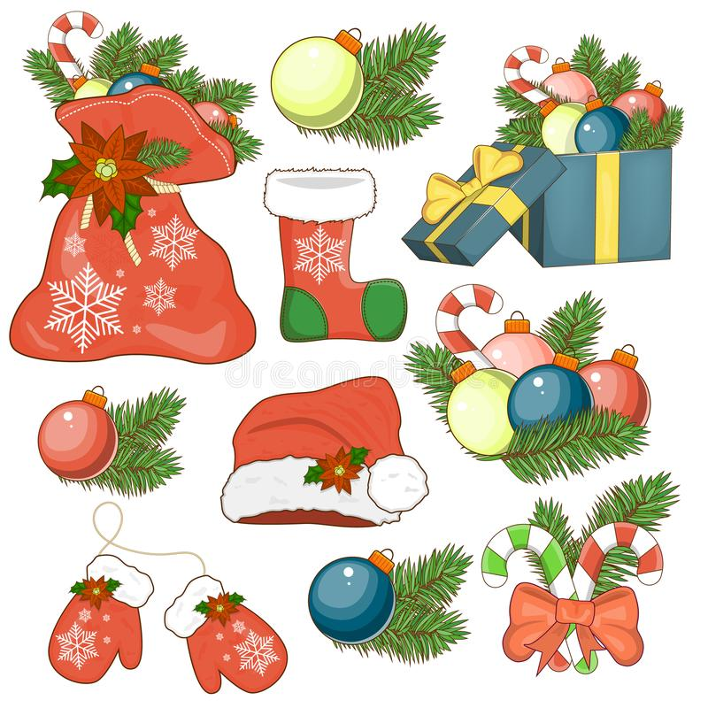The icon of the Nativity sticker set with gift box, Christmas tree, candy vector illustration