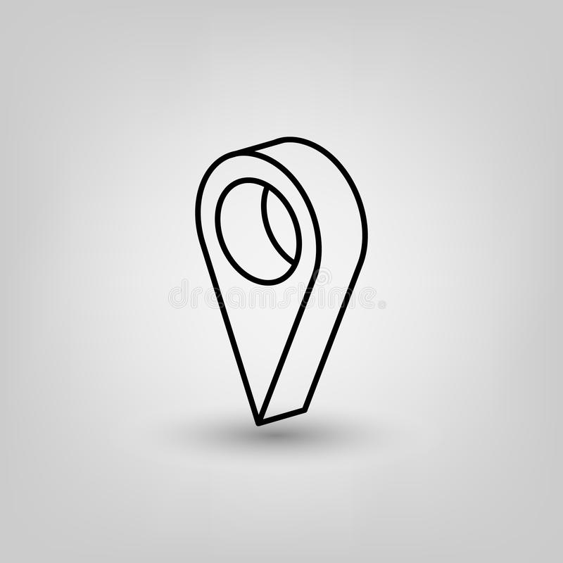 Icon, navigation, map, location, pointer, point, pin, mark, marker, sign, illustration, flat, internet, place, direction, position royalty free illustration
