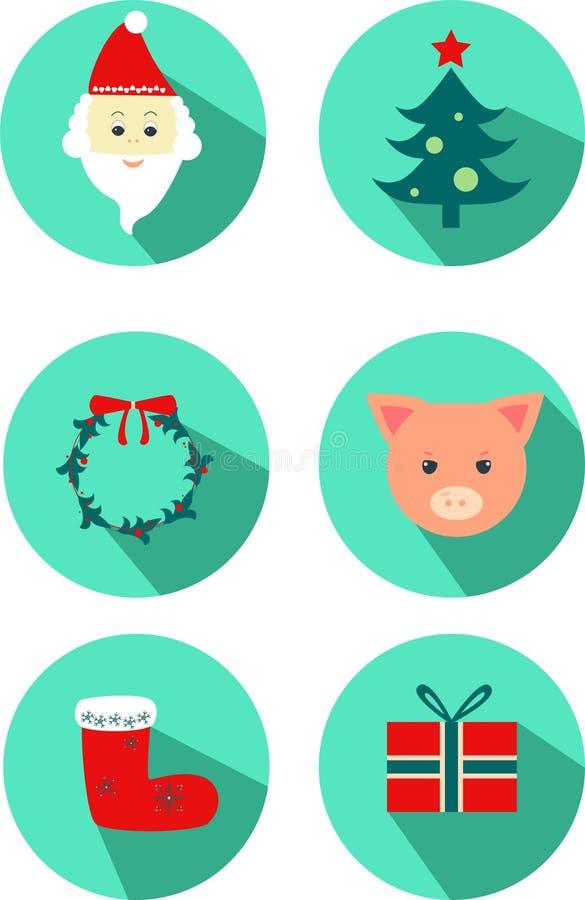 New year icon: pig, christmas tree, Santa Claus, christmas socks, gift, wreath. stock illustration